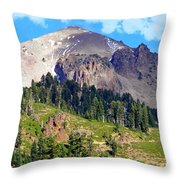 Mount Lassen Volcano Throw Pillow