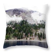 Mount Lassen Volcano In The Clouds Throw Pillow
