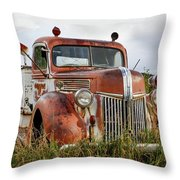 Old Fire Truck In The Mountains Throw Pillow