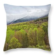 Mount Mansfield Spring Snow Throw Pillow