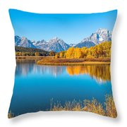Mount Moran From The Snake River In Autumn Throw Pillow