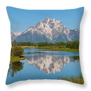Mount Moran On Snake River Landscape Throw Pillow