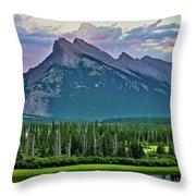 Mount Norquay At Dusk Throw Pillow