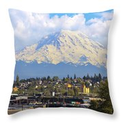 Mount Rainer Over Port Of Tacoma Throw Pillow