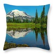 Majestic Reflection - Mount Rainier - 2 Throw Pillow