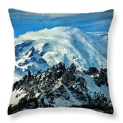 Early Snow - Mount Rainier  Throw Pillow