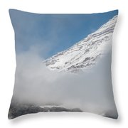 Mount Rainier Behind Clouds 2 Throw Pillow