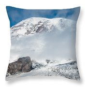 Mount Rainier Behind Clouds 3 Throw Pillow