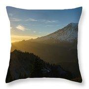 Mount Rainier Dusk Fallen Throw Pillow