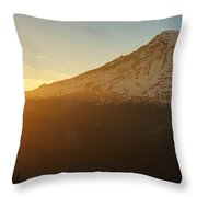 Mount Rainier Evening Light Rays Throw Pillow