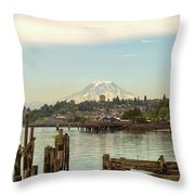Mount Rainier From City Of Tacoma Washington Waterfront Throw Pillow