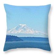 Mount Rainier From Puget Sound Throw Pillow