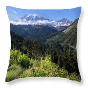 Mount Rainier From Scenic Viewpoint Throw Pillow
