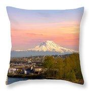 Mount Rainier From Tacoma Marina Throw Pillow