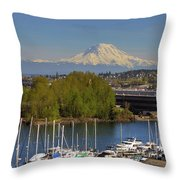 Mount Rainier From Thea Foss Waterway In Tacoma Throw Pillow