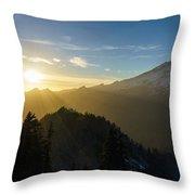 Mount Rainier Golden Dusk Light Throw Pillow