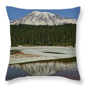 Mount Rainier Reflection Lake Throw Pillow