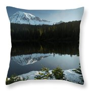 Mount Rainier Reflection Lake W/ Tree Throw Pillow