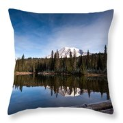 Mount Rainier Reflection Throw Pillow