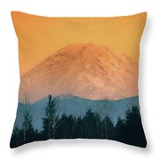 Mount Rainier, Sunset Throw Pillow
