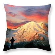 July In Washington, Mount Rainier National Park Throw Pillow