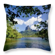 Mount Rotui From Across Opunohu Bay Throw Pillow