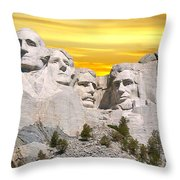 Mount Rushmore 11 Digital Art Throw Pillow