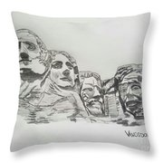 Mount Rushmore Graphite Pencil Sketch Throw Pillow