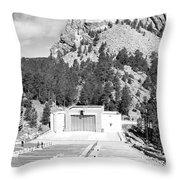 Mount Rushmore National Monument Amphitheater South Dakota Black And White Throw Pillow