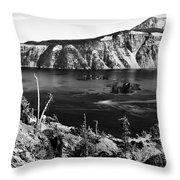 Mount Scott Behind Crater Lake B W Throw Pillow
