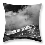 Mount Shasta In Black And White Throw Pillow