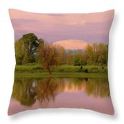 Mount St Helens Reflection During Sunset Throw Pillow