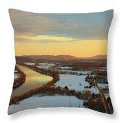 Mount Sugarloaf Winter Sunset Throw Pillow