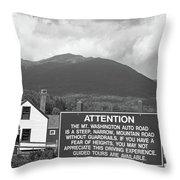 Mount Washington Nh Warning Sign Black And White Throw Pillow