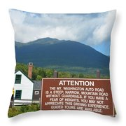 Mount Washington Nh Warning Sign Throw Pillow