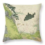 Mount Yoshino, Cherry Blossoms Throw Pillow