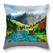 Mountaian Scene Throw Pillow