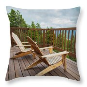 Mountain Adirondack Chairs Throw Pillow
