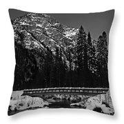 Mountain And Bridge Black And White Throw Pillow