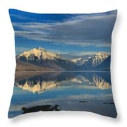 Mountain And Driftwood Reflections Throw Pillow