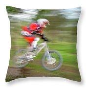 Mountain Bike Rider Throw Pillow