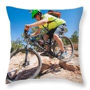 Mountain Biker On The Porcupine Rim Trail Near Moab Throw Pillow