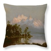 Mountain Canoeing Throw Pillow