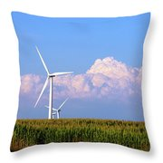 Mountain Clouds And Windmills Throw Pillow