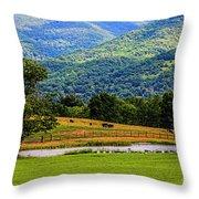 Mountain Farm With Pond Throw Pillow