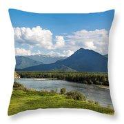 Mountain Filaretka Over Katun River. Altay Throw Pillow