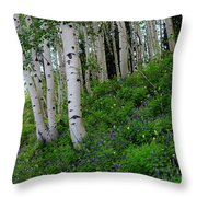 Mountain Flowers And Aspen Throw Pillow
