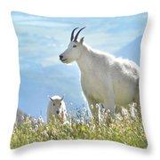 Mountain Goat Momma And Kid Throw Pillow
