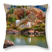 Mountain Goats In Early Fall Throw Pillow