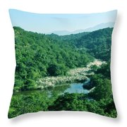 Mountain Greens And Water Throw Pillow